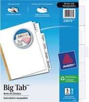 Avery® Big Tab™ Write-On Dividers 23075, 5-Tab Set