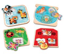 kid connection 4 Wooden Easy-Grab Puzzles Set