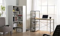 Homestar Desk with built in 4-Shelf Bookcase in Natural Wood