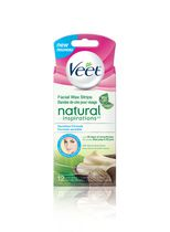 Veet Natural Inspirations Facial Cold Wax Strips for Sensitive Skin with Shea Butter, 12 count