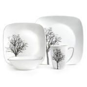 Corelle ® Square™ 16 Piece Timber Shadows Dinnerware Set