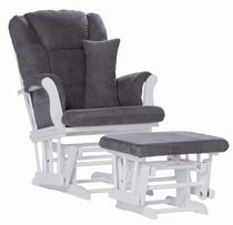 Storkcraft Premium Glider and Ottoman White and Grey