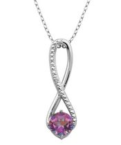 PAJ Sterling Silver Genuine Rose Pink Mystic Topaz Infinity Pendant with Diamond Accent