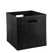 Faux Leather Bin - Black