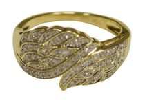 .25 Carat T.W Angel Wing in  Diamond 10KT Yellow Gold Ring 6