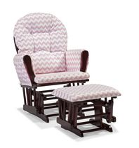 Storkcraft Comfort Glider and Ottoman Pink Chevron