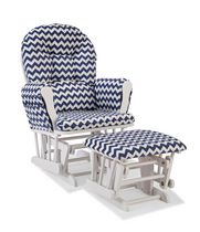 Storkcraft Comfort Glider and Ottoman (White Finish) White/Navy Blue Chevron