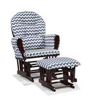 Storkcraft Comfort Glider and Ottoman Navy Blue Chevron