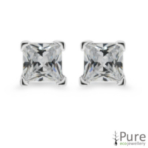 4mm CZ Princess Studs
