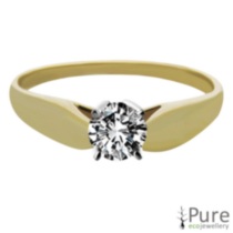 0.15 ct Round Brilliant Diamond Solitaire Ring Yellow Gold 7.5
