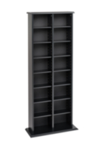 Double Multimedia Storage Tower Black