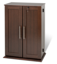Locking Media Storage Cabinet with Shaker Doors Espresso