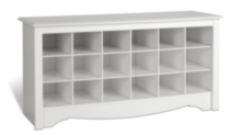Shoe Storage Cubbie Bench White