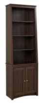 Prepac Tall Slant-Back Bookcase with 2 Shaker Doors Espresso