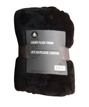 Jeté en peluche royale luxueuse de hometrends - noir