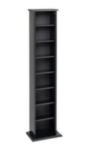 Slim Multimedia Storage Tower Black