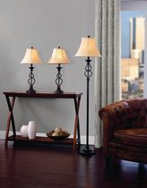 hometrends Iron Wave Table Floor Lamp Set