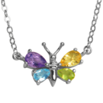 Sterling Silver Genuine Multi-Gemstone Butterfly Necklace