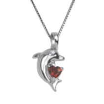Sterling Silver Dolphin Pendant with Genuine Garnet Heart and Diamond Accent