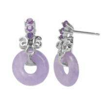 Sterling Silver Lavender Jade Earrings with Genuine Amethysts