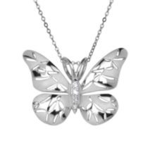 Sterling Silver Matte and High Polish finished Butterfly Pendant with Cubic Zirconias