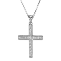 "Sterling Silver ""Have Faith"" Cross Pendant with Cubic Zirconias"