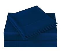 Mainstays Ensemble de Draps en microfibre couleur unie Marine Simple