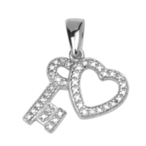 Sterling Silver Heart and Key Charm with Diamond Accent