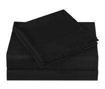 Mainstays Microfiber Solid Sheet Set Black Queen