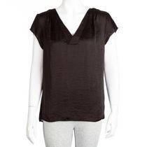 George Women's Cap Sleeve Crossover V-Neck Popover Blouse Black M/M