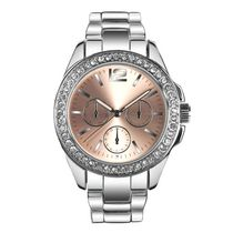 Fashion Watches Women's Silver Tone Boyfriend Watch with Glitz Details