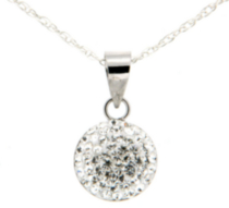 "Sterling silver round crystal pendant on a sterling silver 18"" chain"