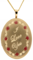 "14kt Gold Filled ""I Love You"" Oval Locket on 18"" gold filled chain"