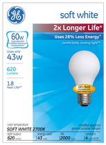 GE Energy-Efficient Soft White 43W A19 4 PK