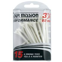 Tour mission Performance 82 mm Plastic 4 Prong Tees, Pack of 15 - White