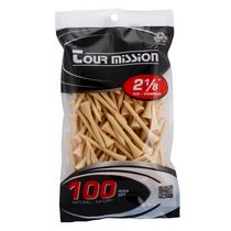 Tour Mission 53 mm Wooden Golf Tees, Pack of 100 - Natural