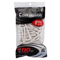 Tour Mission 69 mm Wooden Golf Tees, Pack of 100 - White