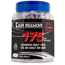 Tour Mission 69 mm Wooden Golf Tees, Pack of 175 - White