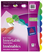 Avery® Style Edge Insertable Plastic Dividers 11201, 8-Tab Set