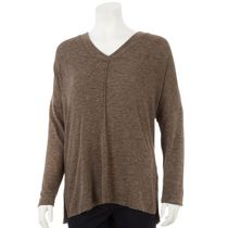 George Women's V-Neck Brushed Hacci Sweater Taupe XS