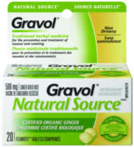Gravol® Natural Source® Ginger Dried Root 500 mg Tablets