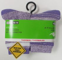 Athletic Works Girls' Basic Thermal Socks, 4 Pack Purple
