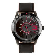 Trend Watches Men's Analog Watch with Red Accent on Dial and Black Strap