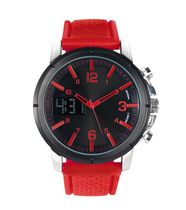 Trend Watches Men's Analog/Digital Sport Watch with Red Accent on Dial and Red Strap