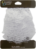 Creativ Décor Ruffled Lace 38mm White