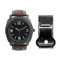 Men's Gunmetal Watch with Black Dial, Dark Brown Strap & 4 Accent Studs with Money Clip
