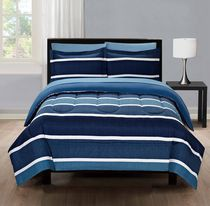 Mainstays Blue Stripe Twin Bed-in-a-Bag Microfiber Bedding Set