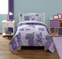 Mainstays Kids Butterfly Patchwork Bed in a Bag Bedding Set