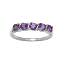 Sterling Silver Rhodium Plated Genuine Amethyst Ring 7