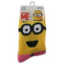 Minions Girls' Crew Socks, Pack of 3 4-6